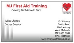 MJ First Aid Training Business Card